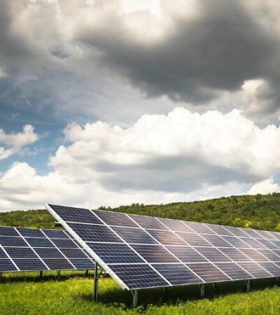 solar power panels on a farm