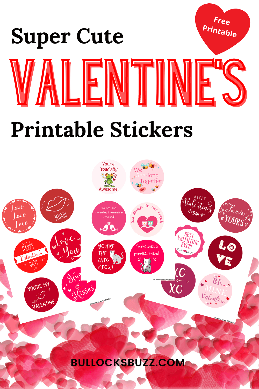 These adorable printable Valentine's Day Stickers are a cute way to add a little love to cards, gifts, and treats on the sweetest day of the year!