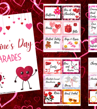 Get ready to laugh and have fun with your friends and family as you try to guess the words and phrases in this free Valentine's Charades printable game!