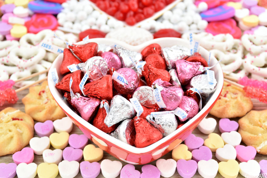 close up of Hershey's kisses in heart-shaped bowl on Valentines Charcuterie Tray