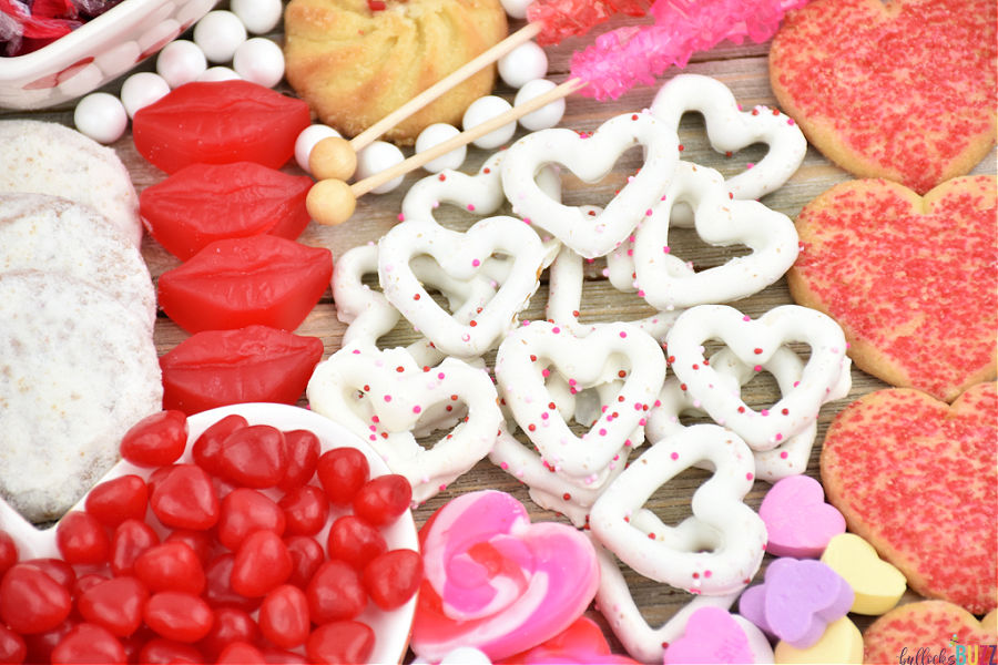 white chocolate covered pretzels on candy board for Valentine's Day