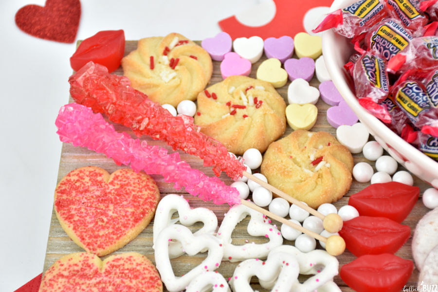 close up of rock candy on easy Valentine's Day Candy Board