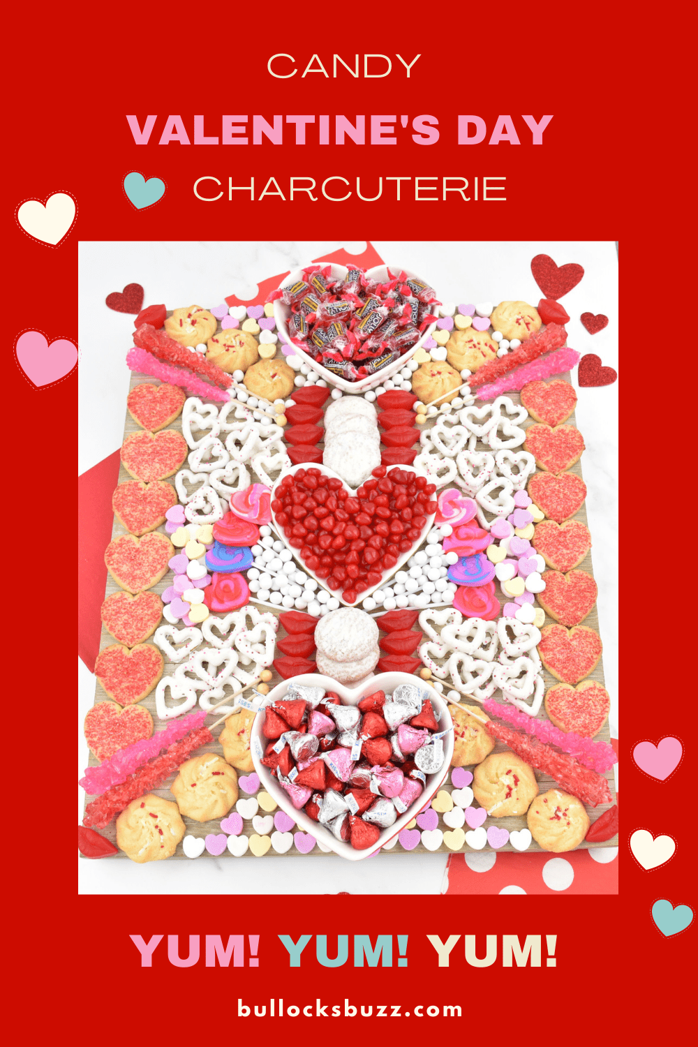 This colorful and cheerful Valentine's Day Candy Charcuterie Board is SO much tasty fun! Filled with heart-shaped cookies, candies, and chocolate-covered pretzels, this dessert board is the perfect way to celebrate the sweetest day of the year! #ValentinesDay #Charcuterie
