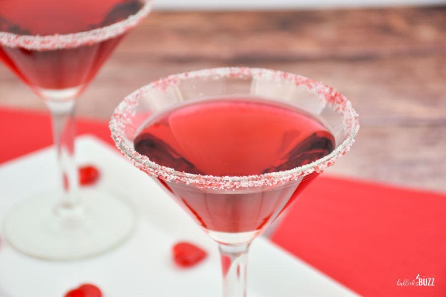 red Valentine's Day cocktail in glasses