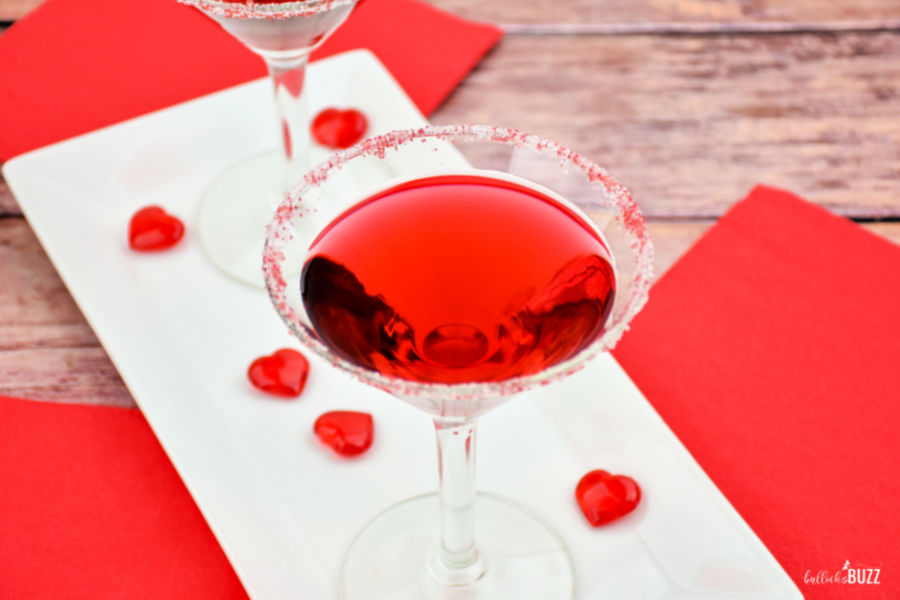 With its pop of red color, this easy raspberry Valentine's Day cocktail is perfect for the holiday. Plus, this cocktail is so yummy, it's sure to be love at first sip!