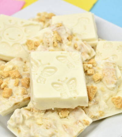 springtime cookies and cream bark candy on white plate