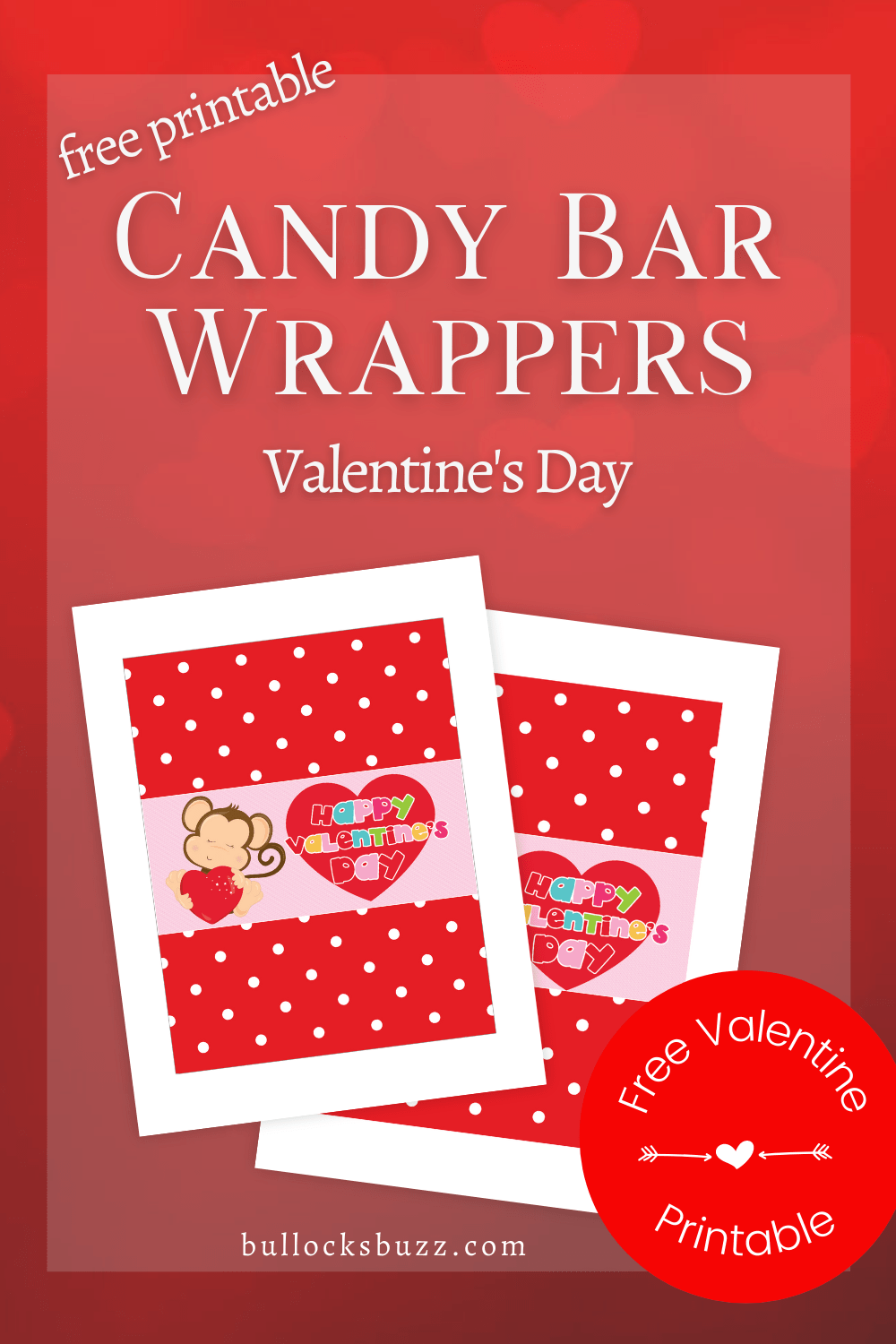 Turn ordinary candy bars into an extra sweet treat this Valentine's Day with these free printable candy bar wrappers! #printables #valentinesday #printablevalentines #printablecandybarwrappers