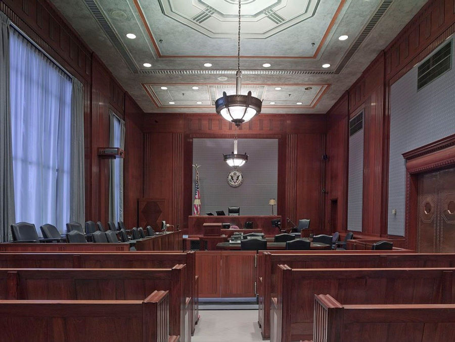 courtroom for child custody hearing