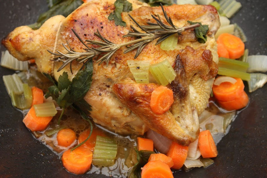 easy Roasted Chicken Dutch Oven Recipe finished in Dutch oven