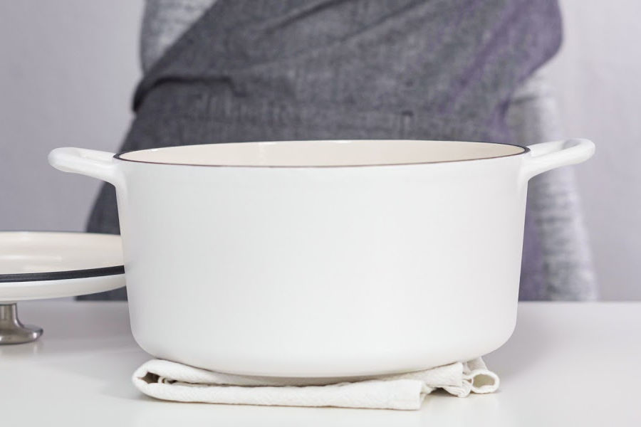 white enameled Dutch oven