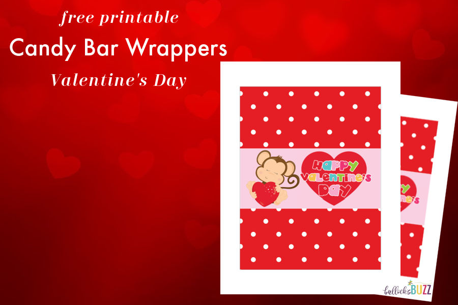 close up of Printable Candy Bar Wrappers for Valentine's Day design with monkey holding a heart