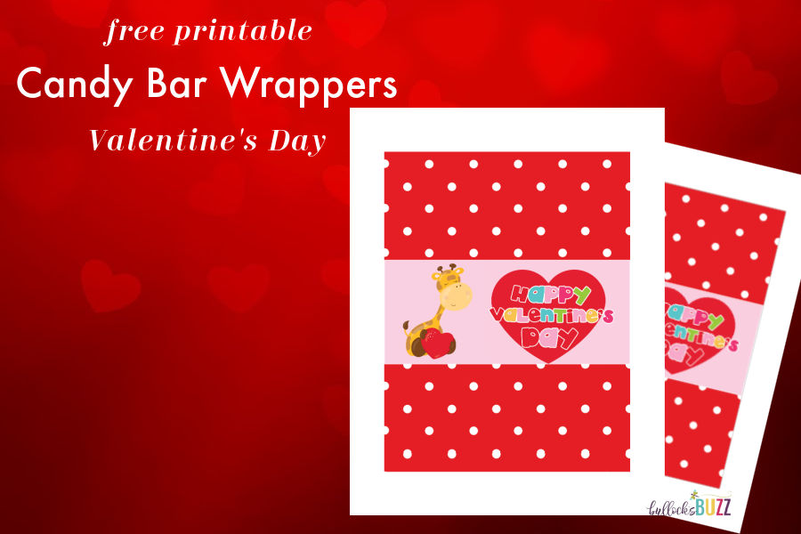 close up of Printable Candy Bar Wrappers for Valentine's Day design with giraffe holding a heart