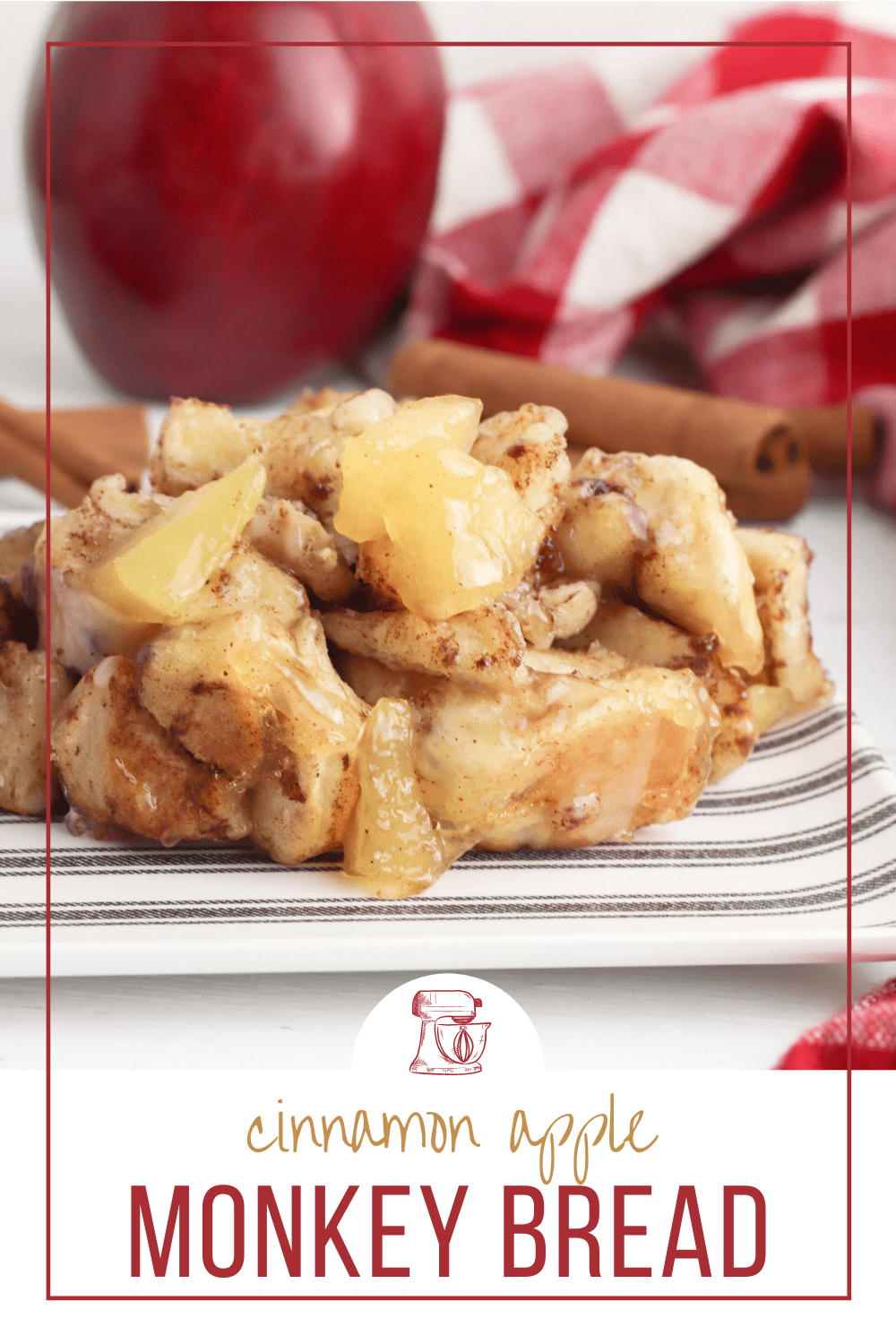 Made with two simple ingredients, this incredibly delicious loaf of Cinnamon Apple Monkey Bread is packed full of cinnamon apple gooey goodness!