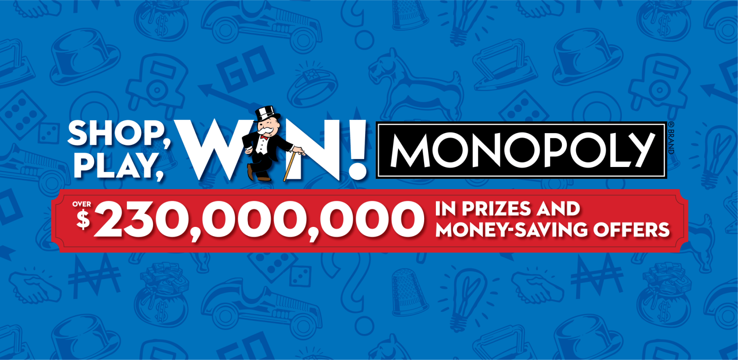 Shop Play Win monopoly Game information banner