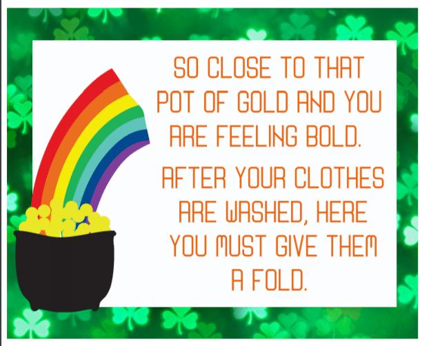Third St. Patrick's Day Treasure Hunt clue