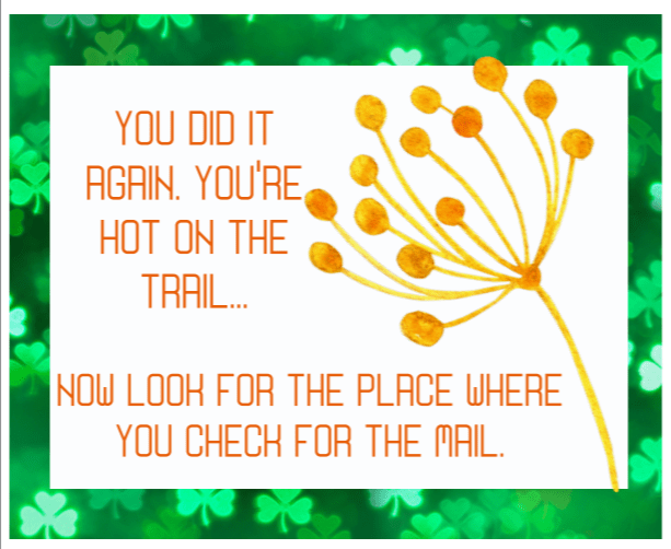 ninth St. Patrick's Day Treasure Hunt clue