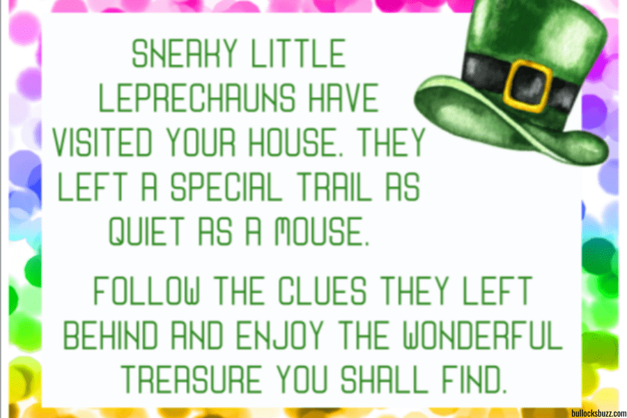 St. Patrick's Day Treasure Hunt welcome message