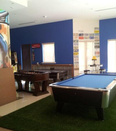 basement game room set up