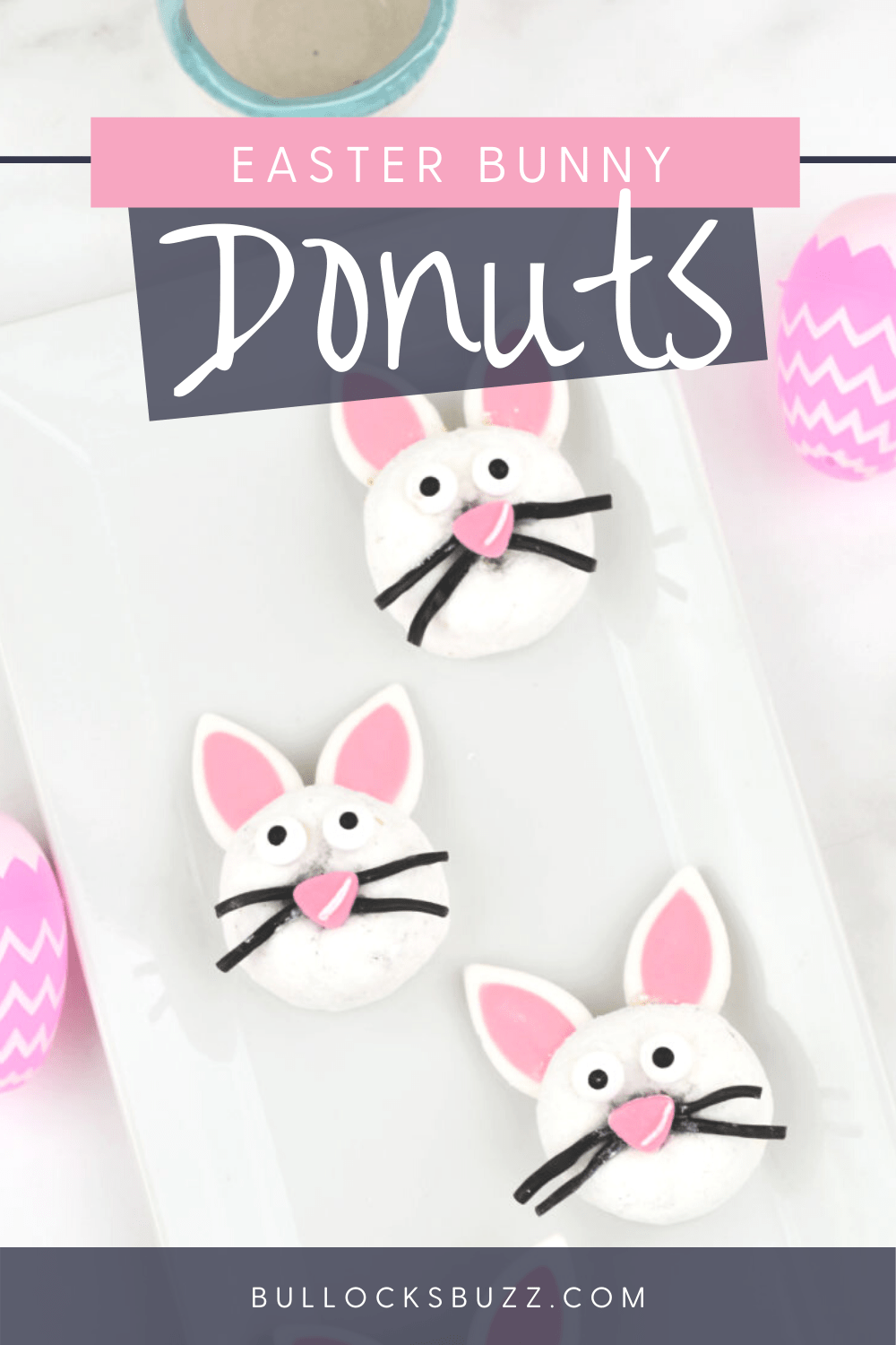 Easter Bunny Donuts are an easy no-bake Easter dessert that everyone will love! Delicious white powdered donuts are topped with adorable bunny ears and faces in this fun recipe that doubles as Easter dessert table decor.