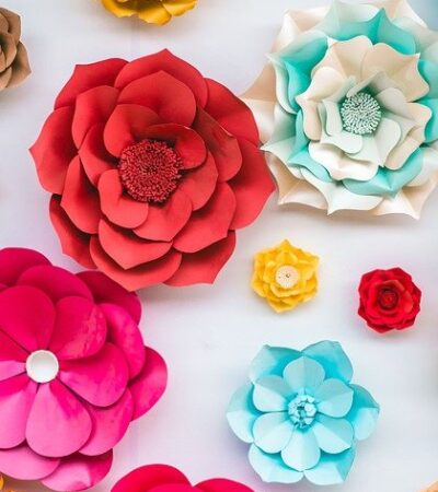 colorful paper flowers as quick craft projects