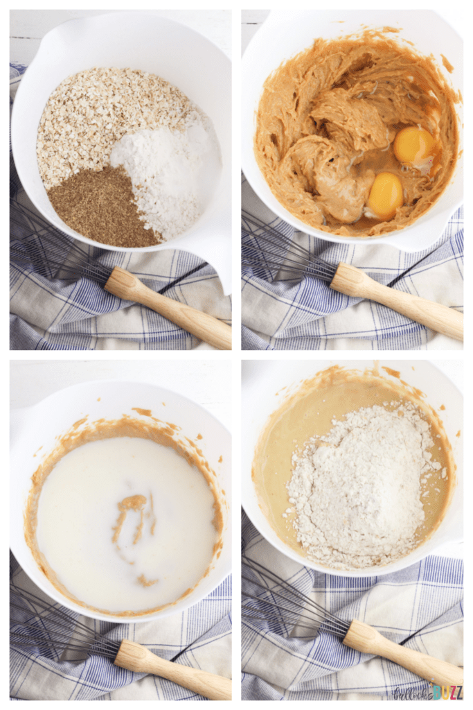 step-by-step instructions for making Peanut Butter Banana Chocolate Chip Muffins batter