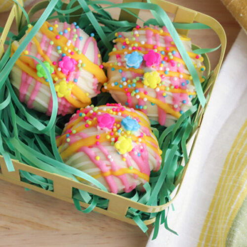Easy Springtime Hot Chocolate Bombs in a basket
