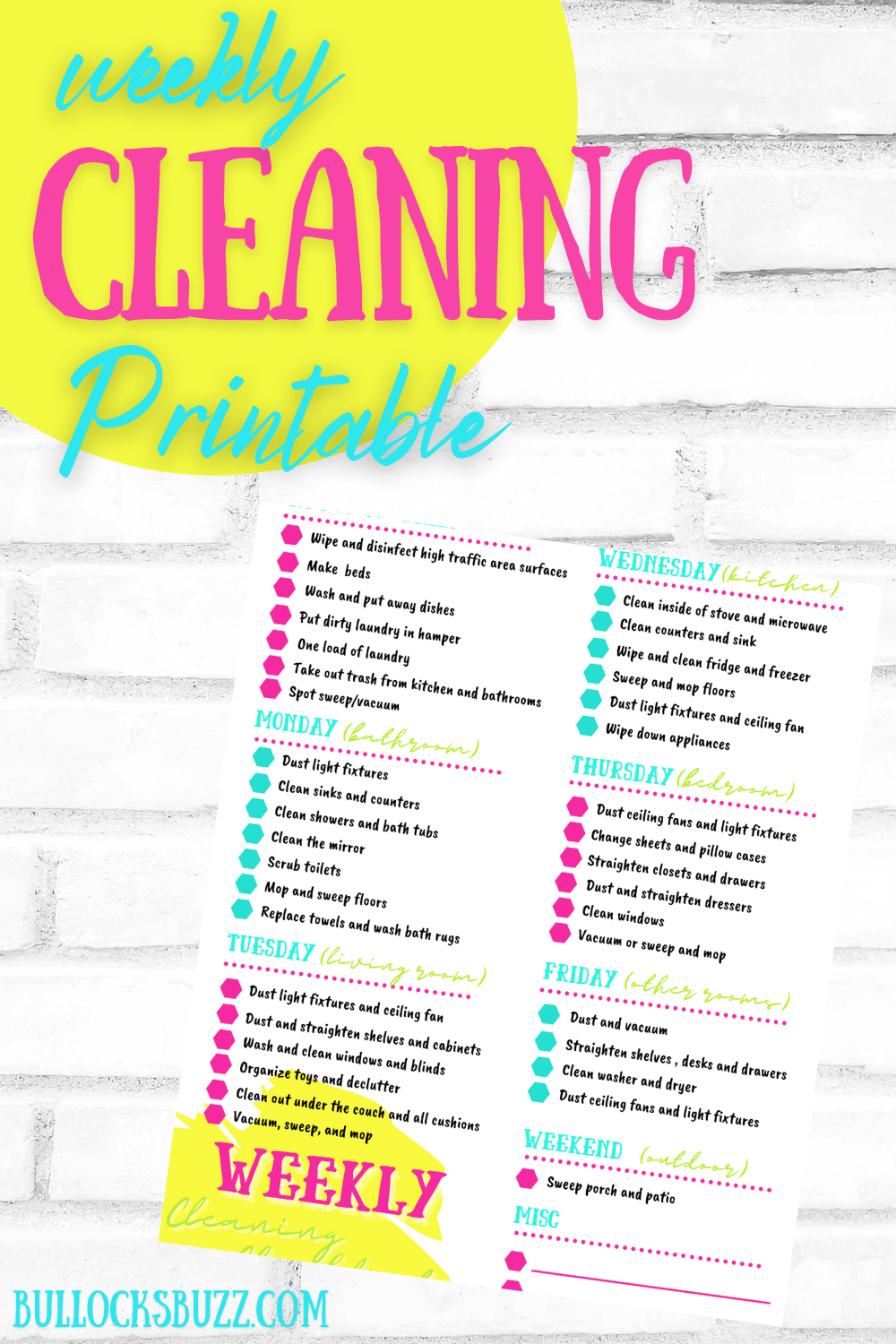 mock up of free weekly cleaning schedule checklist printable