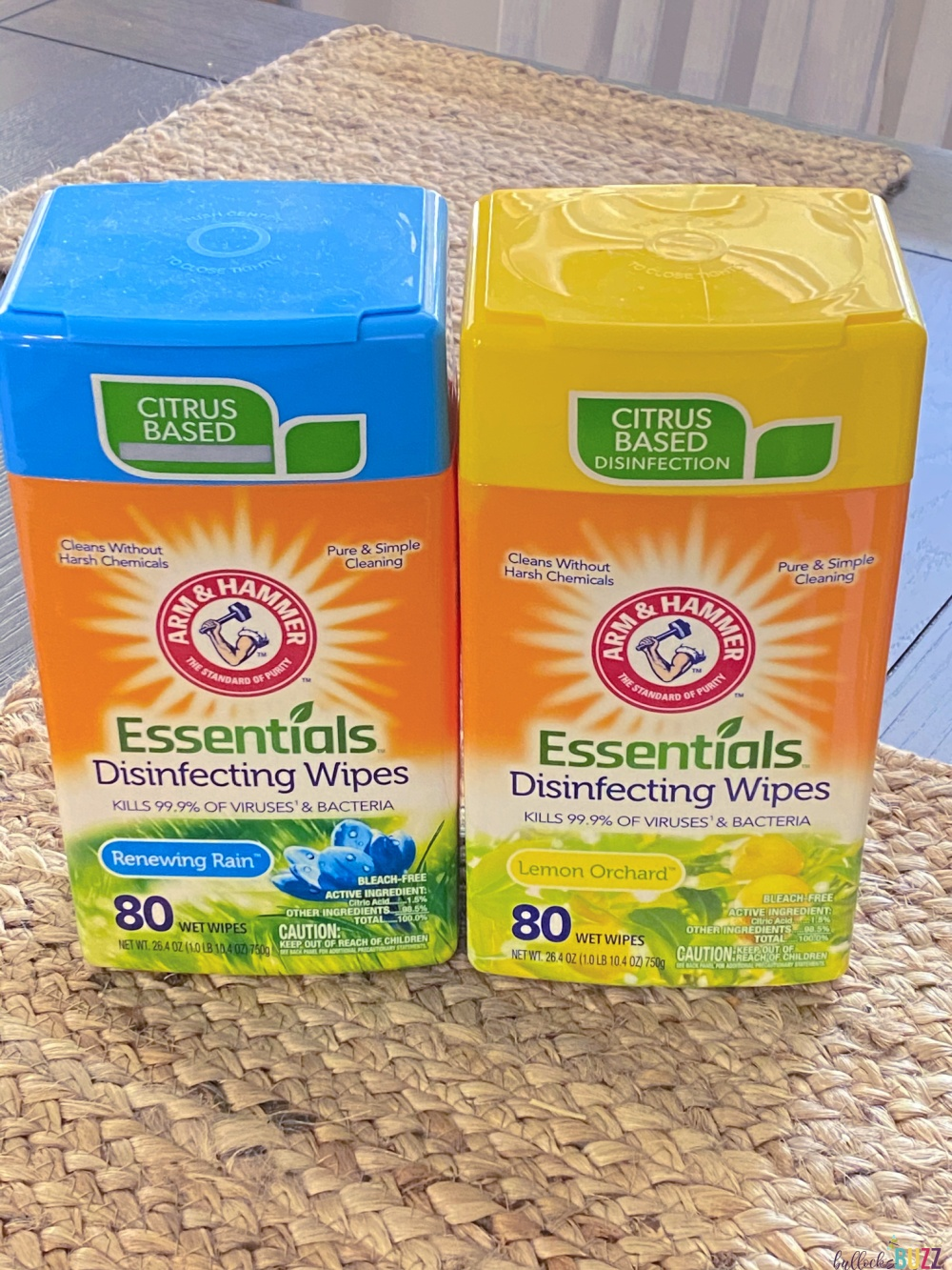 Arm and Hammer disinfecting wipes in containers on table