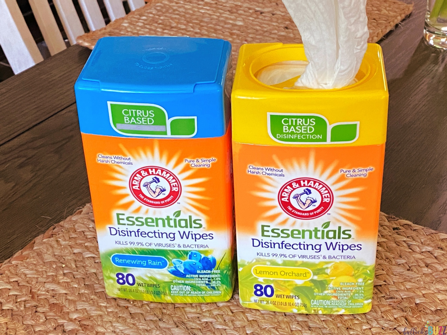 Arm and Hammer Essentials Disinfecting Wipes containers open