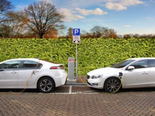 electric cars parked and charging