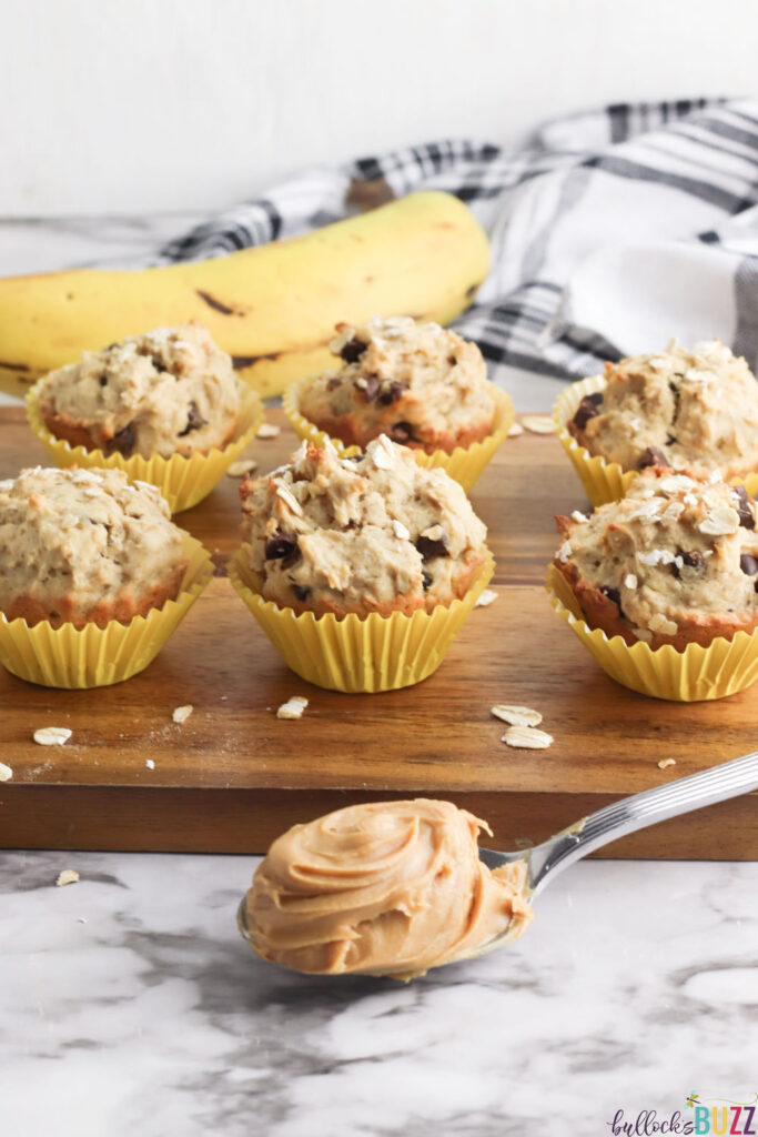 Peanut Butter Banana Chocolate Chip Muffins are soft, moist, and packed full of flavor.