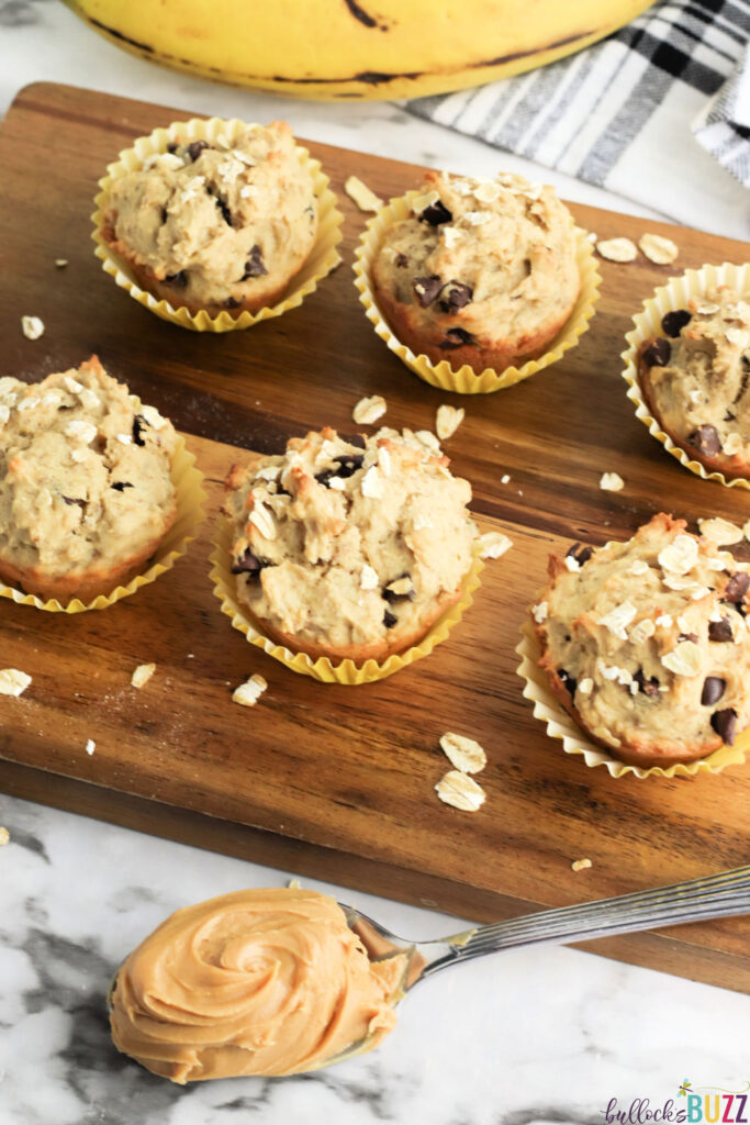 Peanut Butter Banana Chocolate Chip Muffins are studded with semi-sweet chocolate chips, these next-level muffins offer the perfect amount of banana, peanut butter, and chocolate flavor in every bite.