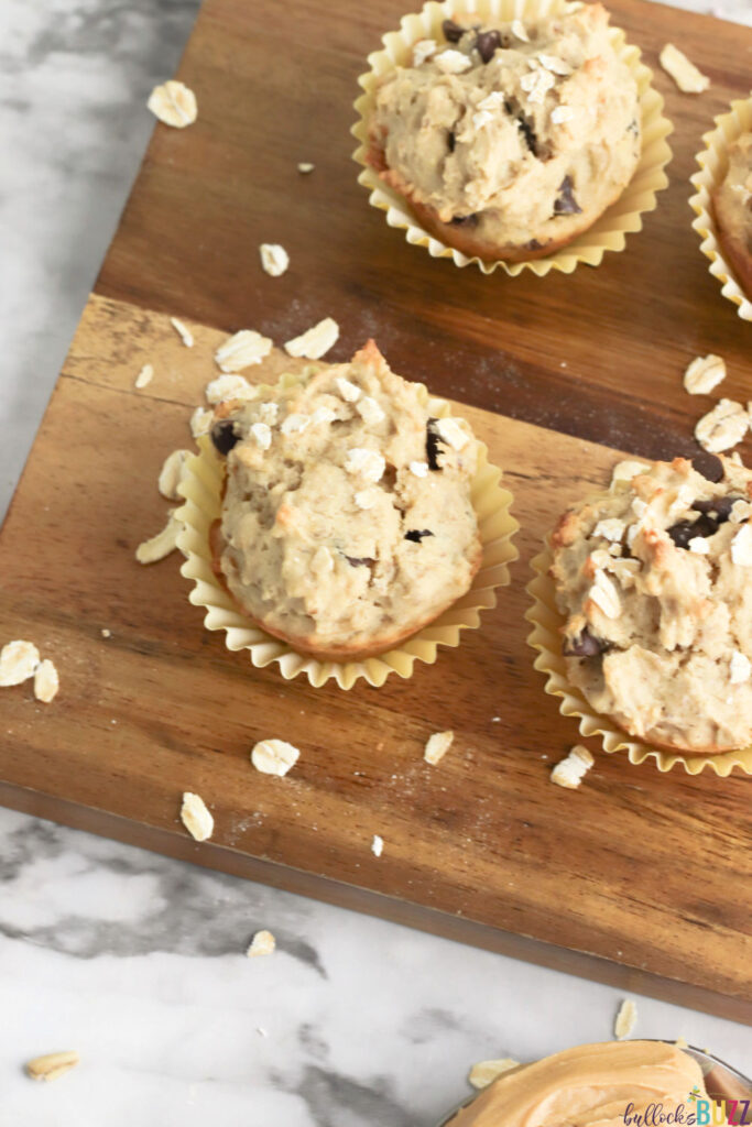 These Peanut Butter Banana Chocolate Chip Muffins are easy to make and perfect for breakfast or as a snack.