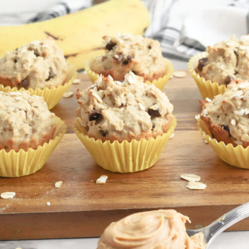 fresh-out-of-the-oven Peanut Butter Banana Chocolate Chip muffins