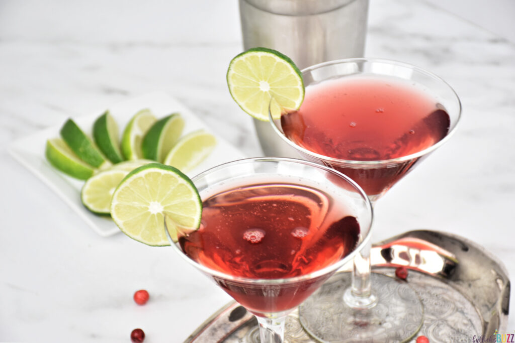 red cocktail in martini glass