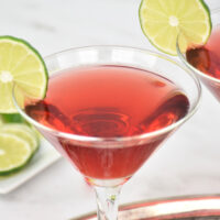 red Scarlett O'Hara cocktail in martini glass