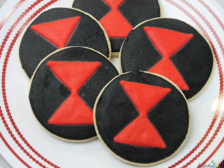black widow cookies on plate