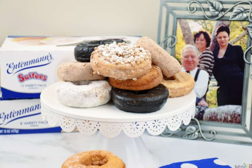 Entenmann's donuts on a cake stand for celebrating Celebrate Father's Day with Entenmann's