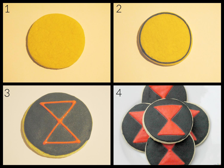 step by step decorating black widow cookies