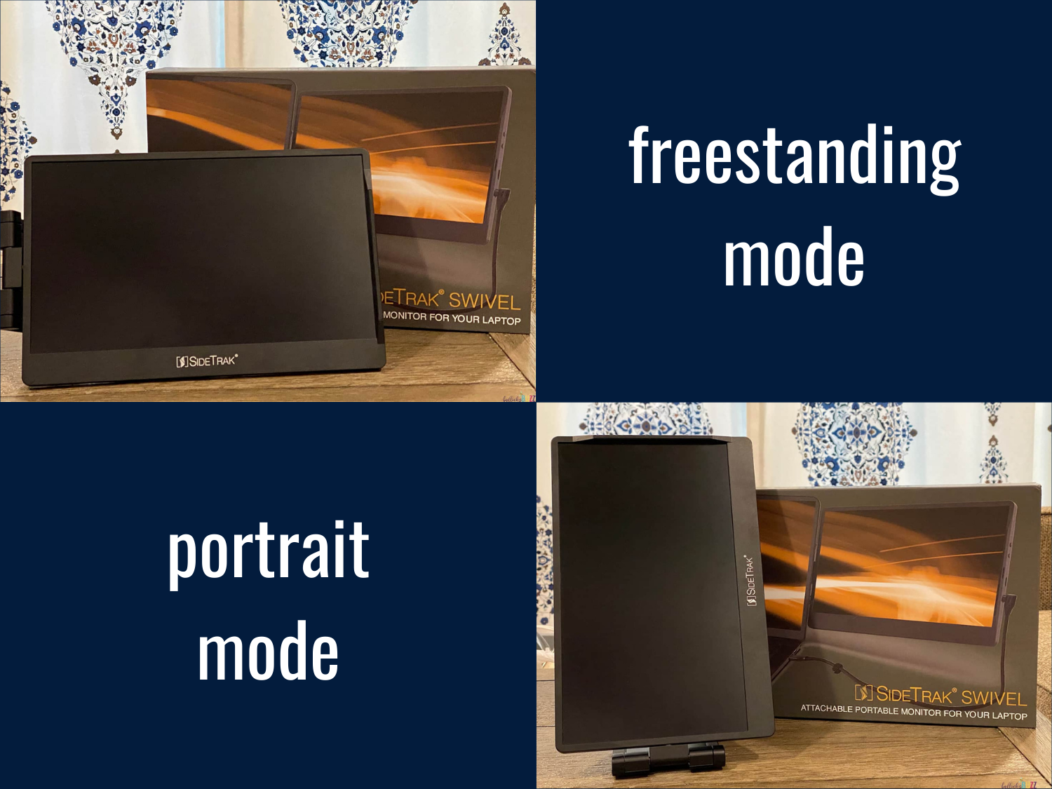 SideTrak Swivel portable laptop monitor in portrait and freestanding modes