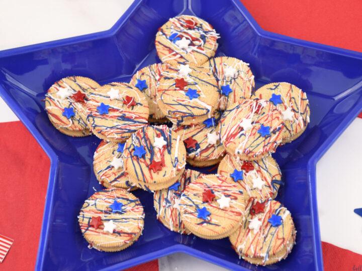patriotic Oreos on blue star shaped plate