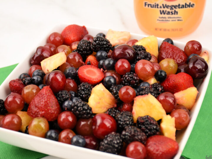 bowl of fruit cleaned with Arm & Hammer Fruit and Vegetable Wash
