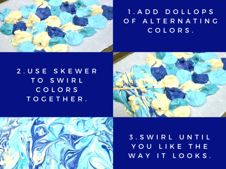 step by step instructions on how to make swirled candy bark