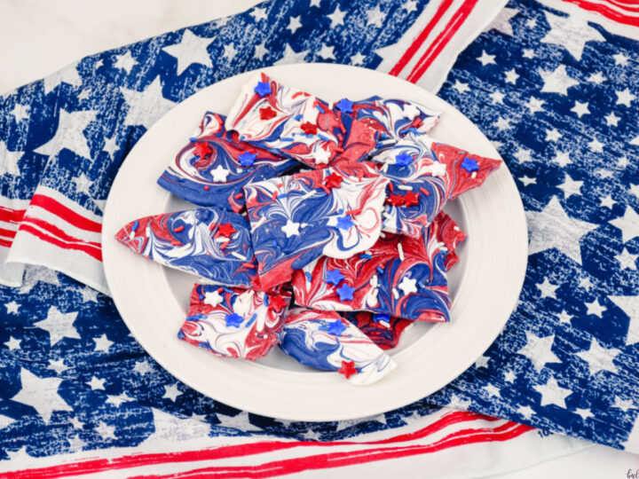 patriotic candy bark on white plate