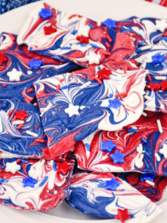 patriotic candy bark on plate