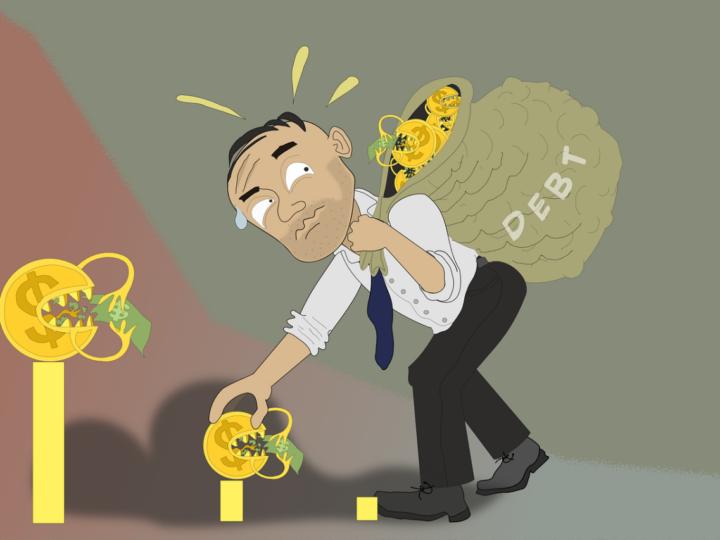 man in debt considering debt consolidation