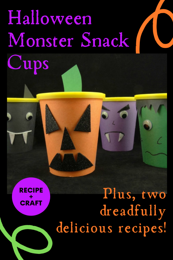 These Halloween Monster Snack Packs are perfect for Halloween parties, school parties, and to give as treats for Trick or Treat. But they become even an even better fangtastically-fun Halloween treat when you dress them up as monsters! Plus, two hauntingly delicious Halloween treats made using Nabisco Go-Paks!, Pudding Cups, whipped cream, and sprinkles!
