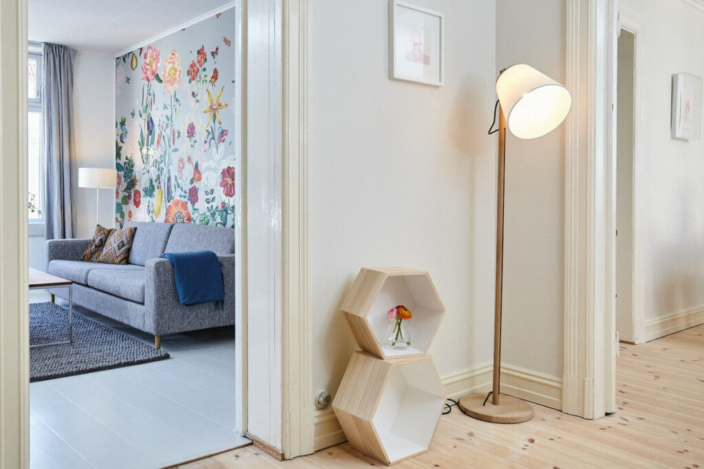 use peel and stick wallpaper to create an accent wall like this one