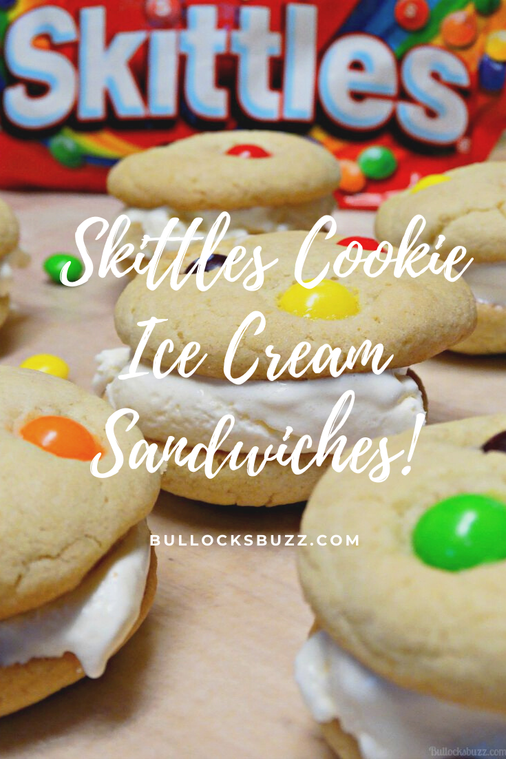 Rich and creamy vanilla ice cream is nestled between two soft and chewy sugar cookies sprinkled with a rainbow of Skittles, in this delectable summer treat that just can't be beat.