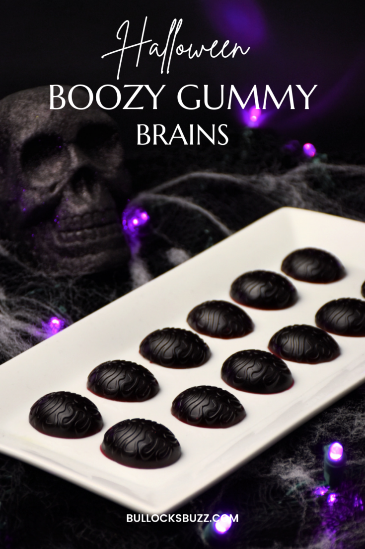 Halloween Boozy Gummy Brains on a white platter
